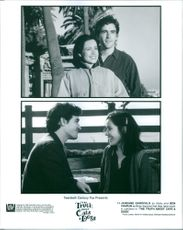Janeane Garofalo as Abby Barnes and Ben Chaplin as Brian in the film The Truth About Cats & Dogs, 1996.