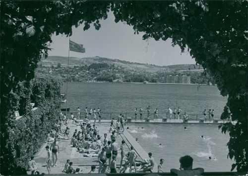 View of Lido swimming pool and the Bosphorus in background in Istanbul, Turkey.