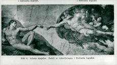 "Detail of the ceiling painting ""Adam's Creation"" by Michelangelo, as seen in the Sistine Chapel"