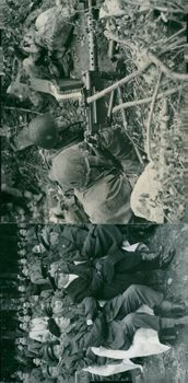 The foreign military attachés view the battle exercises and in the right picture 507 Molander and 111 Falk has  gone into firing position.
