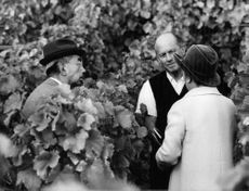 Emperor Showa with his wife Nagaka at the Vineyards near Lausanne.