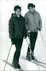 Goitschel sisters Christine and Marielle skiing together.  Taken - 3 Feb. 1964