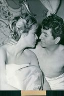 Daniel Gelin and Hildegard Knef in a scene from the 1958 movie,