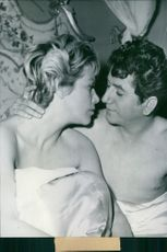 "Daniel Gelin and Hildegard Knef in a scene from the 1958 movie, ""La Fille de Hambourg""."