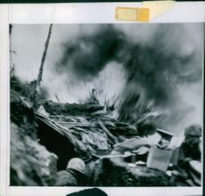 View of a bomb blast during wartime. 1952