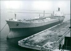 """1976  A photo of the Giant Japanese tanker """"Shianogaws Maru"""", moored at the outfitting pier of Mitsui Shipbuilding and engineering yard at China, east of Tokyo."""
