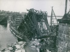 Photo of a destroyed bridge during a war.1915