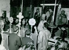 Archbishop Makarios III during a religious activity.