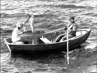 Writer Tove Jansson out with the boat