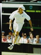 American tennis player Andre Agassi during Wimbledon 1995