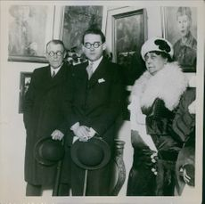 Photo shows: (Left to right) Msr. D.e. Bejza, Prince Otto Von Bismark and Mrs. Alec Tweedie the novelist. 1929.