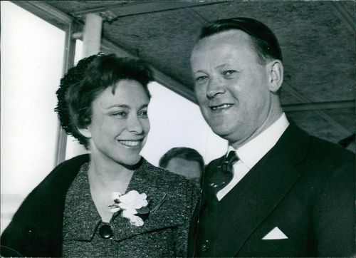 Portrait of Jeans Otto Krag, Foreign Minister of Denmark, pictured with his actress wife Helle Virkner. 1961