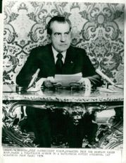 President Richard Nixon gives a television speech to a Soviet audience from the Kremlin in Moscow