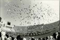 """During the inauguration balloons were released with banners where it was """"welcome"""" in the respective participating nations languages."""