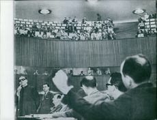 Men giving speech in the assembly. 1961