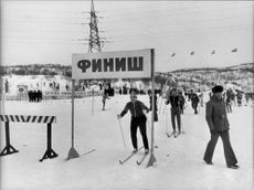Cross-country skier in spring in Murmansk