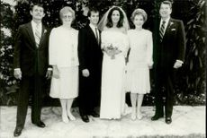 Terrance Grilley, Donna Grilley, Paul Grilley, Patricia Davis Reagan, Nancy Reagan and Ronald Reagan at Patricia and Paul's Wedding