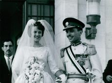 King Hussein Bin Talal and Princess Muna al-Hussein's wedding picture.