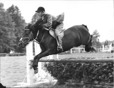 Ewy Lindstrom on her pony Rauke jump in the Swedish Championships