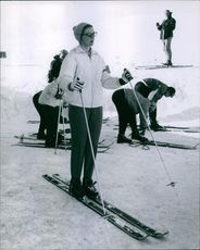 Photograph of Princess Birgitta of Sweden, while she is skating on ice.