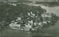 Aerial view of Traneberg. In the foreground is the bone meal factory