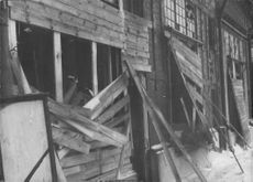Photograph of a damaged house in Finland for Finnish-Russian Project, 1939-40