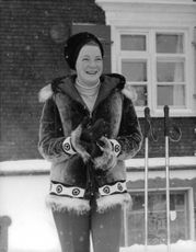 Princess Irene of the Netherlands smiling in her winter attire, 1963.