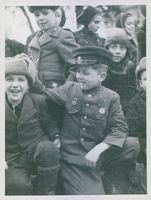 German children dressed up in uniforms of their future professions.