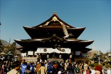 A temple is visited during the Winter Olympics in 1998