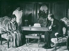 King Hassan of Morocco in meeting with Prince Philip at the royal palace in Rabat