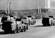 Parade with robot and robot weapon in the Soviet Union.