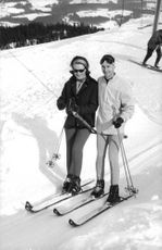 Princess Irene and Carlos Hugo having fun skiing, 1964.