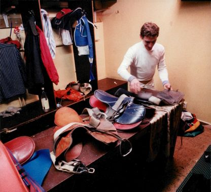 A jockey gets ready for today's competitions
