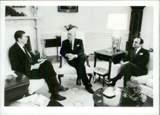Ronald Reagan in conjunction with Prime Minister Saeb Salam and former Prime Minister Salem of Lebanon.