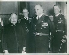 Admiral Bristol of the American Asiatic Fleet, (Right) with Admiral Okada, Japanese Minister of the Navy, in Tokyo, when Admiral Bristol called at the Naval Office at the start of the conflict between Japanese and Chinese.
