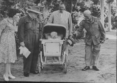 Field Marshal Smuts with Victor Lampson, Winston Churchill, Lady Lampson and Sir Miles. 1942.