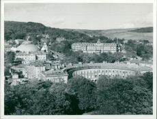 The Crescent and the domed devonshire Royal Hospital.