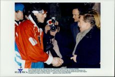 Czech president greets the Olympic hockey star Jaromir Jagr in Prague