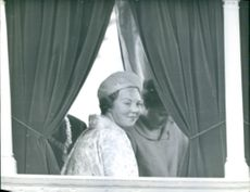Beatrix of the Netherlands looking back with smiling face