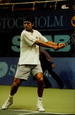 Filip Dewulf (Belgium) plays match during the Stockholm Open