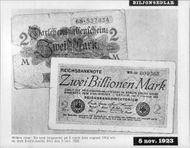 The picture shows a German war item on 2 marks from August 1914 and a German 2-bill from 5 November. 1923