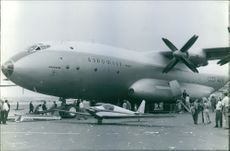 Passengers standing beside the airplane in the runway.