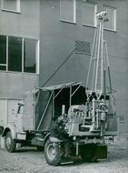 AB Atomic Energy. A custom-built four-wheel drive off-road military car with drill bit