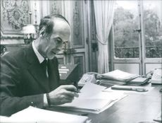 President Valery Giscard D'Estaing pictured in his office. 1974.