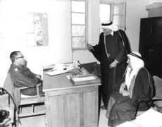 Two Arabian talks to a military officials in Israel.