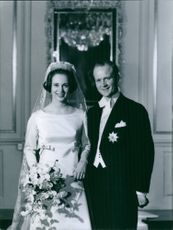 A photo of Princess Benedikte of Denmark and Prince Richard of Sayn-Wittgenstein-Berleburg during their wedding, 1968.