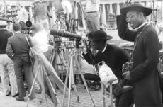 Crew working during movie shooting.