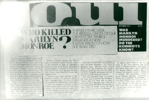 A newspaper article about Marilyn Monroe's death