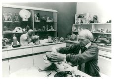 Sculptor Henry Moore in his studio