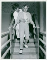 Stockholmsbilder Institute of Physiotherapy Physiotherapist, Margareta Hedberg, in exercise staircase